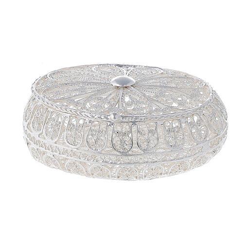 Astuccio portarosario filigrana argento 800 ovale 5,5x4,5 cm 1