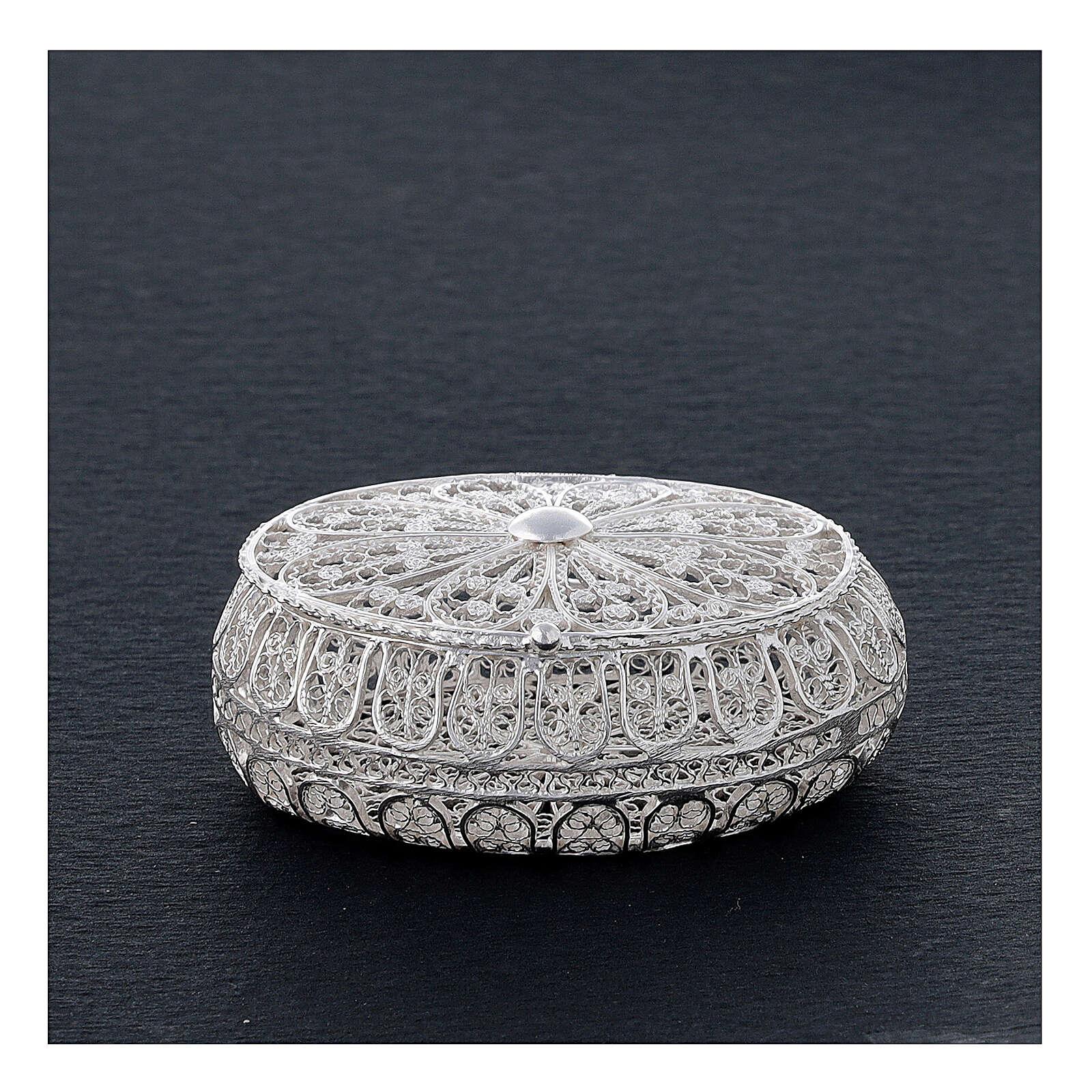 Caixa oval para terço filigrana prata 800 2x5,5x4,5 cm 4