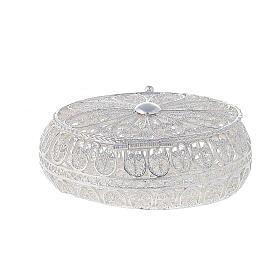 Caixa oval para terço filigrana prata 800 2x5,5x4,5 cm s4