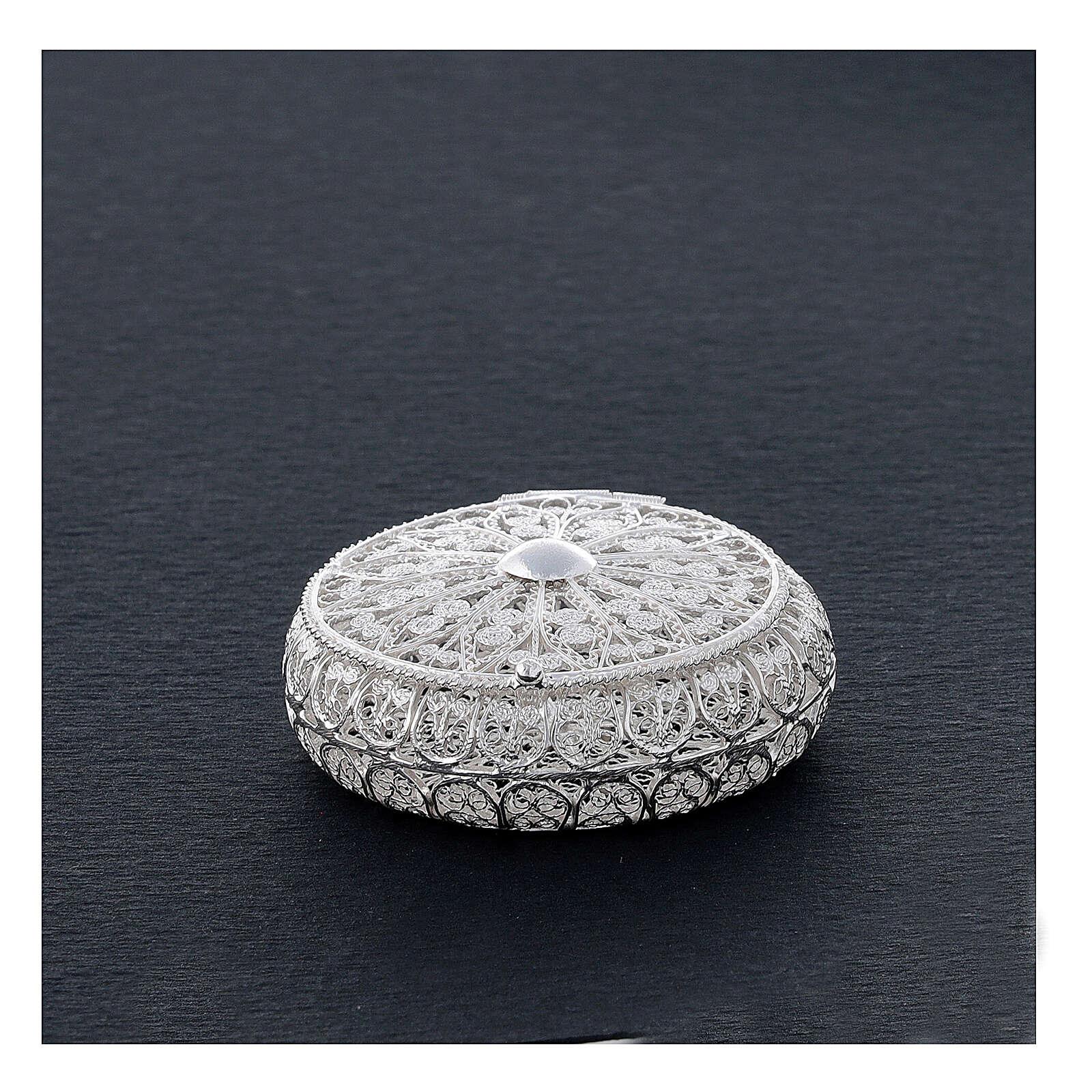 Caja para rosario filigrana plata 800 redonda 5 cm 4