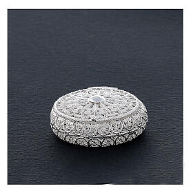 Caixa redonda para terço filigrana prata 800 1,5x5 cm s2