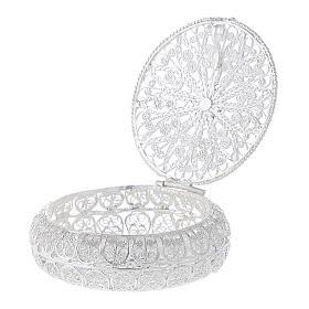 Caixa redonda para terço filigrana prata 800 1,5x5 cm s3