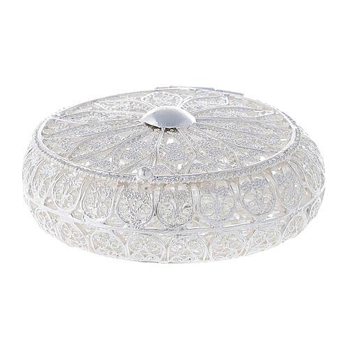 Caixa redonda para terço filigrana prata 800 1,5x5 cm 1