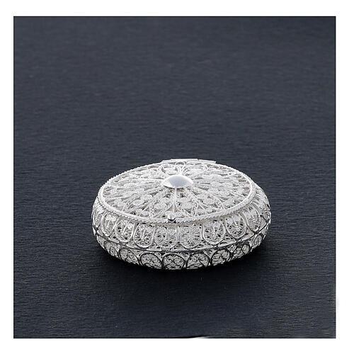 Caixa redonda para terço filigrana prata 800 1,5x5 cm 2