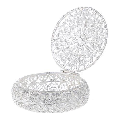 Caixa redonda para terço filigrana prata 800 1,5x5 cm 3