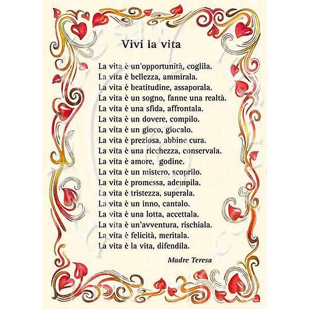 "Kartka z życzeniami modlitwa ""vivi la Vita"" Matka Teresa 4"
