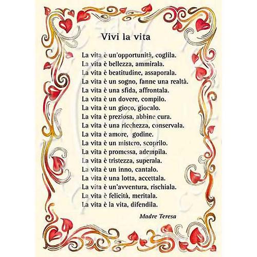 "Kartka z życzeniami modlitwa ""vivi la Vita"" Matka Teresa 1"