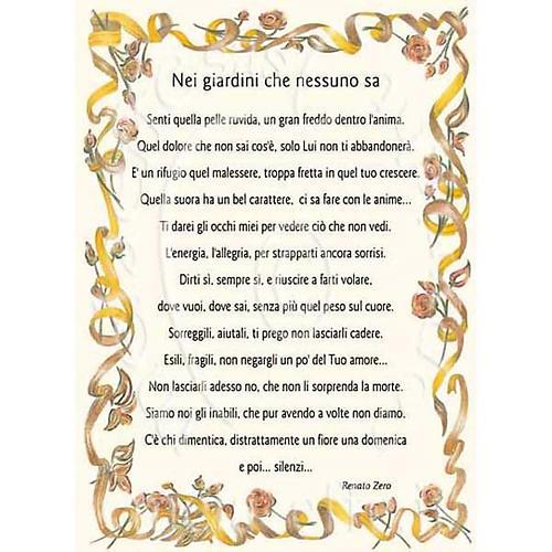 Kartka z życzeniami piosenka 'Nei giardini che nessuno sa' R. Zero 1
