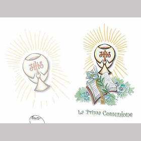 Lily, Chalice and Book First Communion card s1