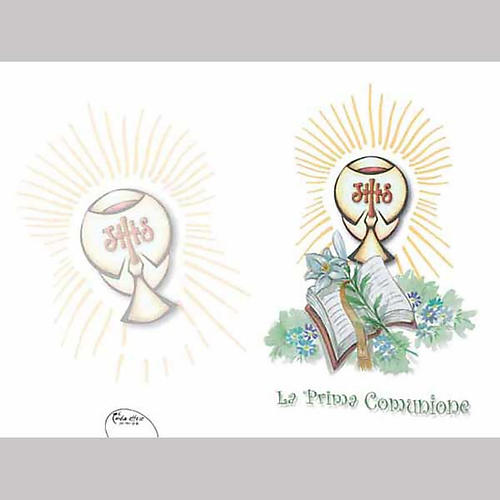 Lily, Chalice and Book First Communion Card 1