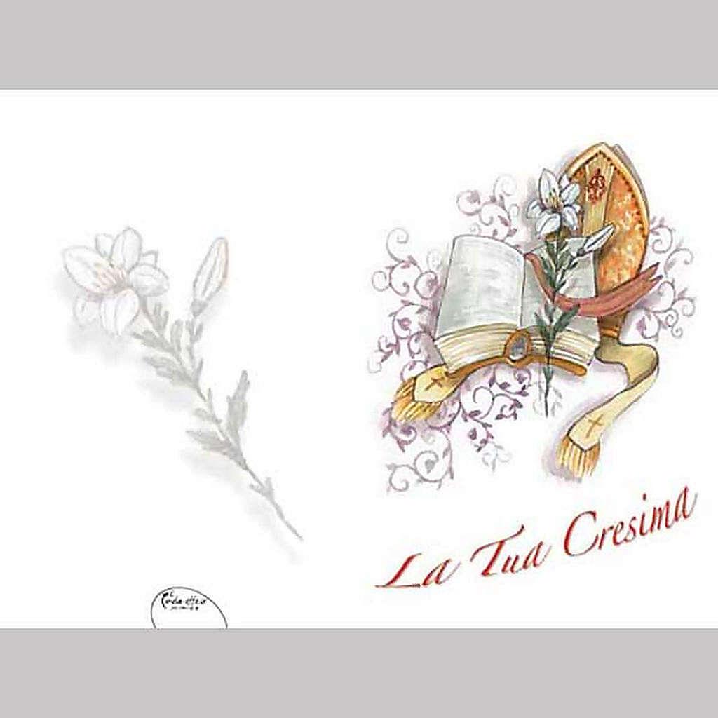 Biglietto cresima auguri fiore e libro vendita online su for Frasi di auguri per la cresima