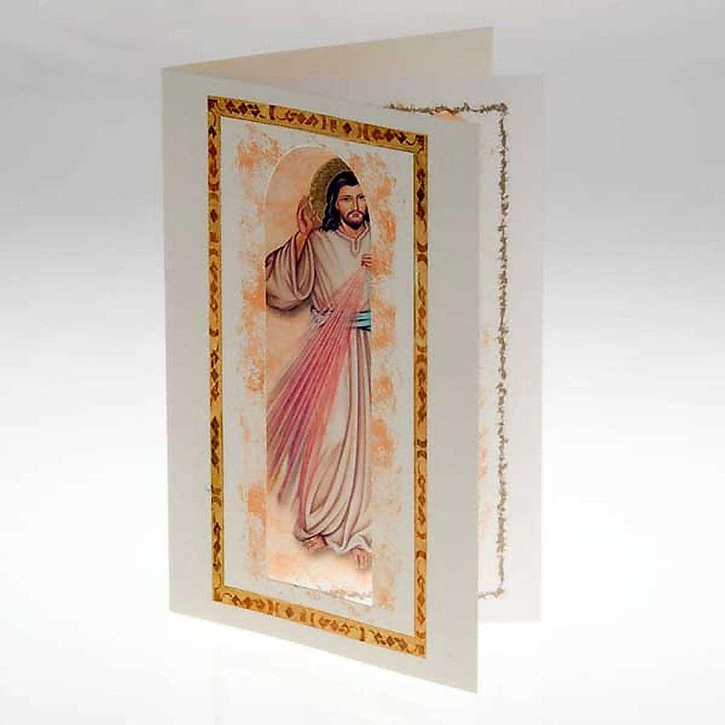 Biglietto augurale con pergamena Gesù Misericordioso 4