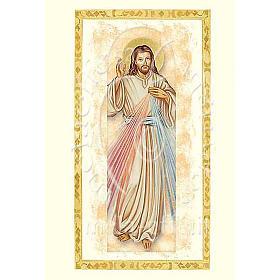 Biglietto augurale con pergamena Gesù Misericordioso s1