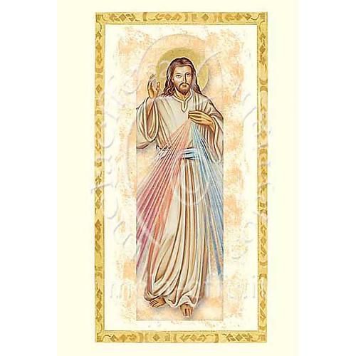 Biglietto augurale con pergamena Gesù Misericordioso 1