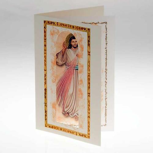 Biglietto augurale con pergamena Gesù Misericordioso 2