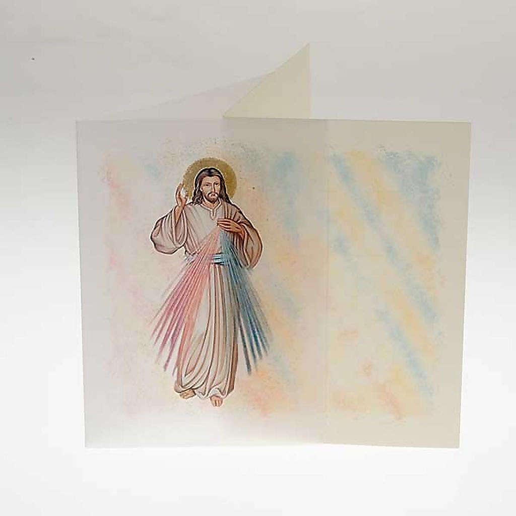 Biglietto d'auguri con pergamena immagine Gesù Misericordioso 4