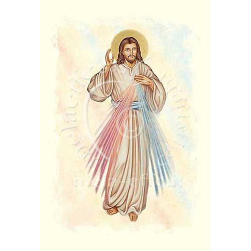 Biglietto d'auguri con pergamena immagine Gesù Misericordioso 1