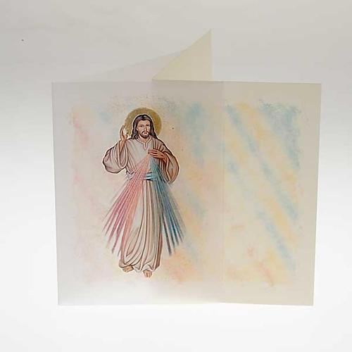 Biglietto d'auguri con pergamena immagine Gesù Misericordioso 2