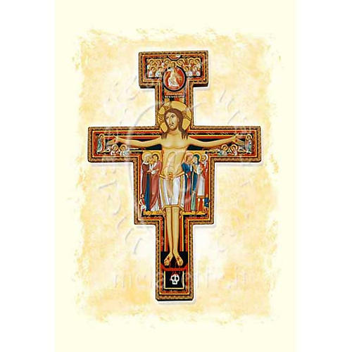 Carte voeux Crucifix Saint Damien parchemin 1