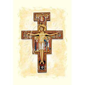Kartka z życzeniami pergamin krucyfiks św. Damiana s1