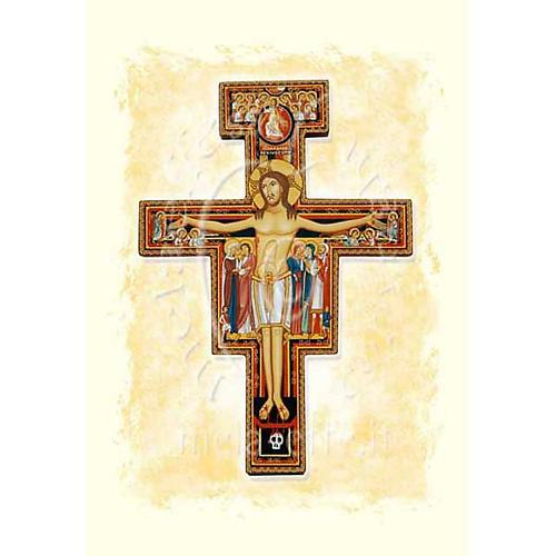 Kartka z życzeniami pergamin krucyfiks św. Damiana 1