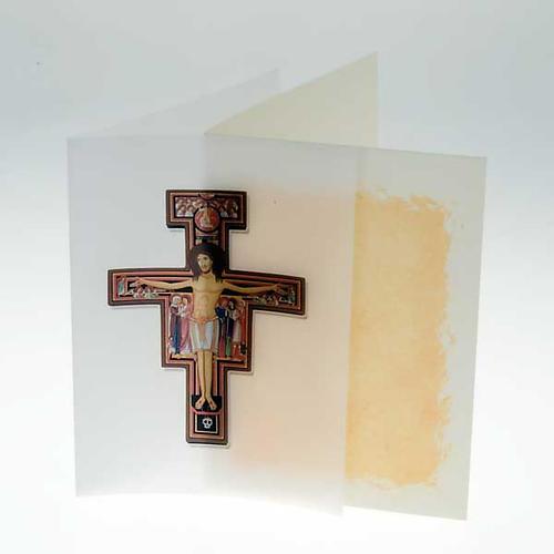 Kartka z życzeniami pergamin krucyfiks św. Damiana 2