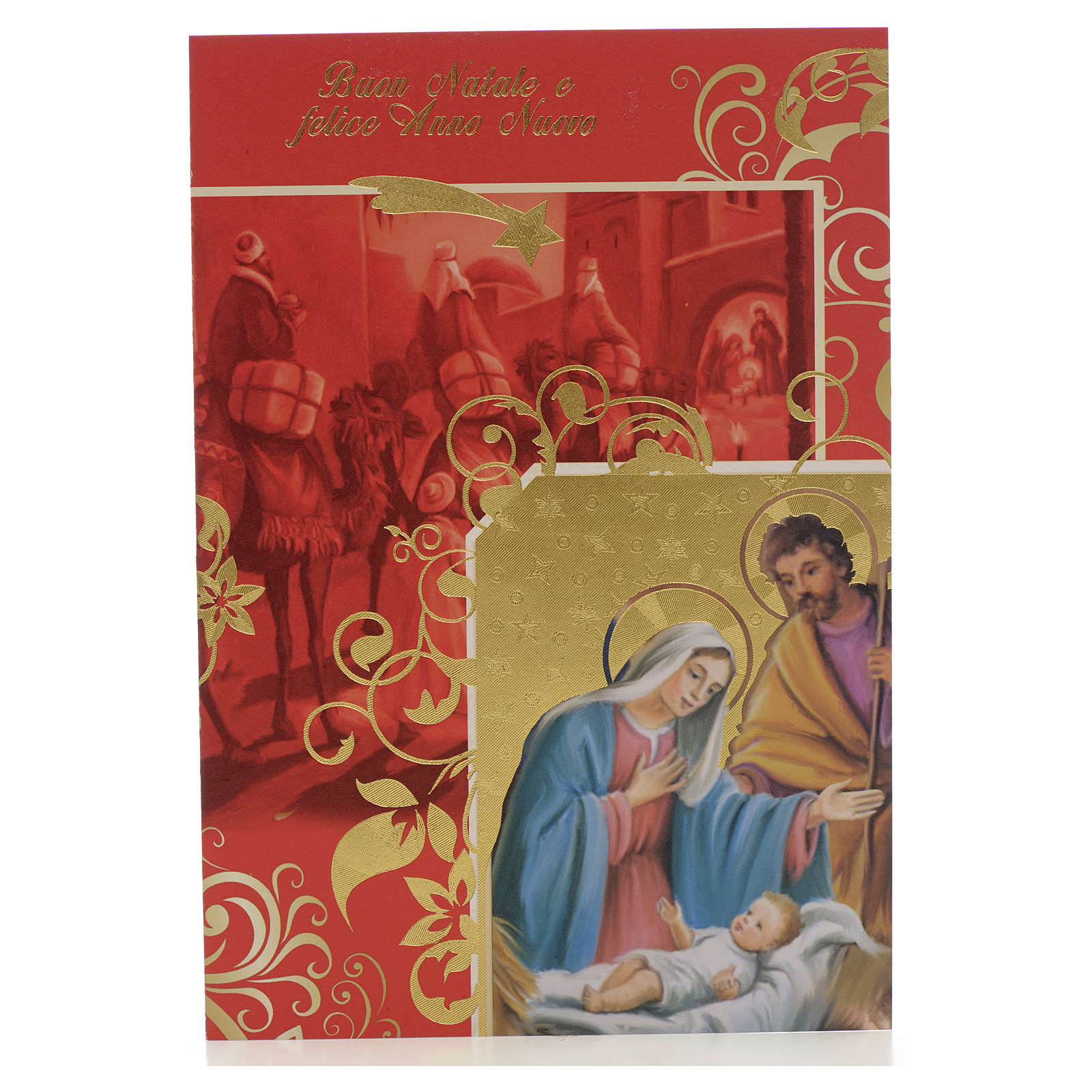 Festive card, Holy family and wise men 4