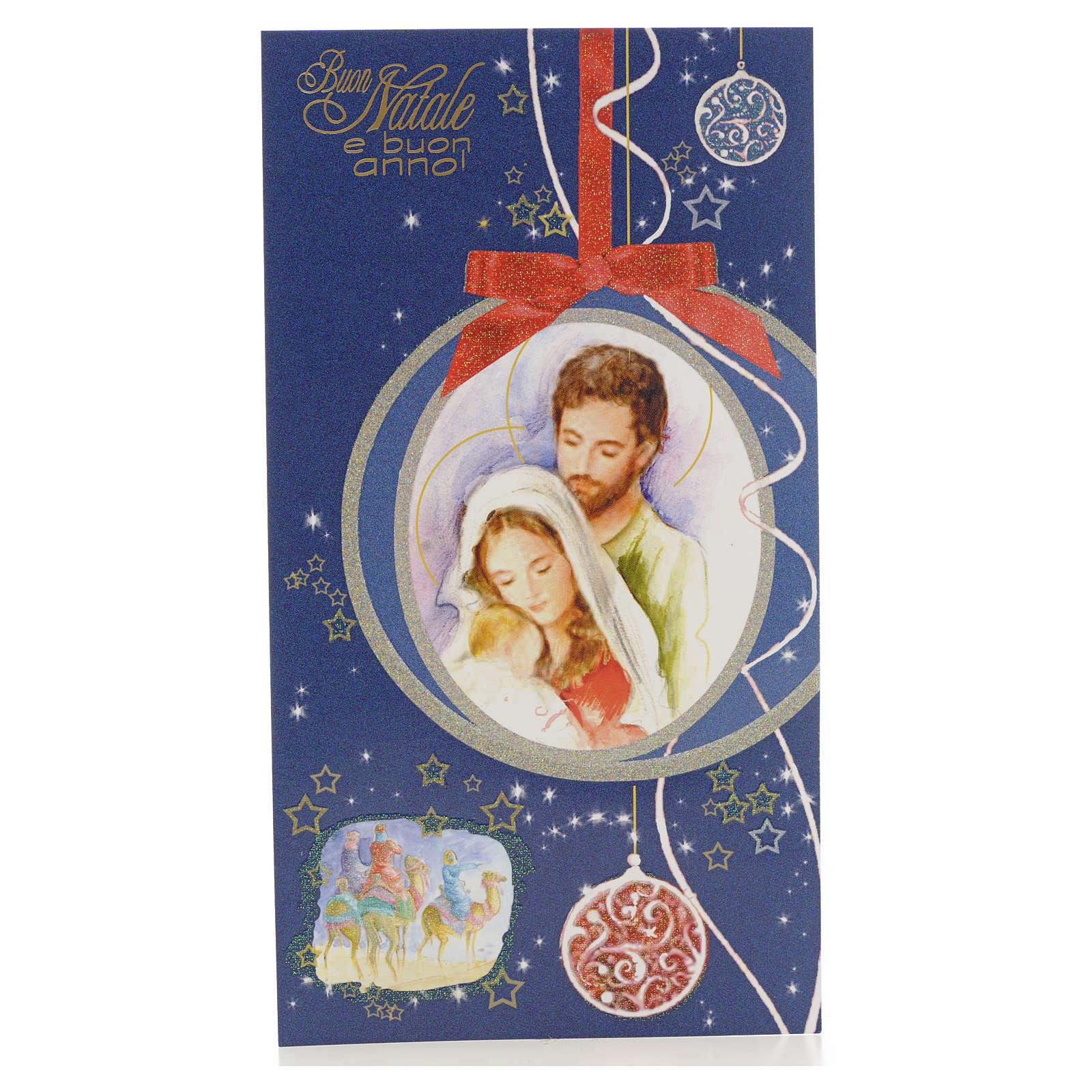 Tarjeta de Navidad azul Sagrada Familia 4