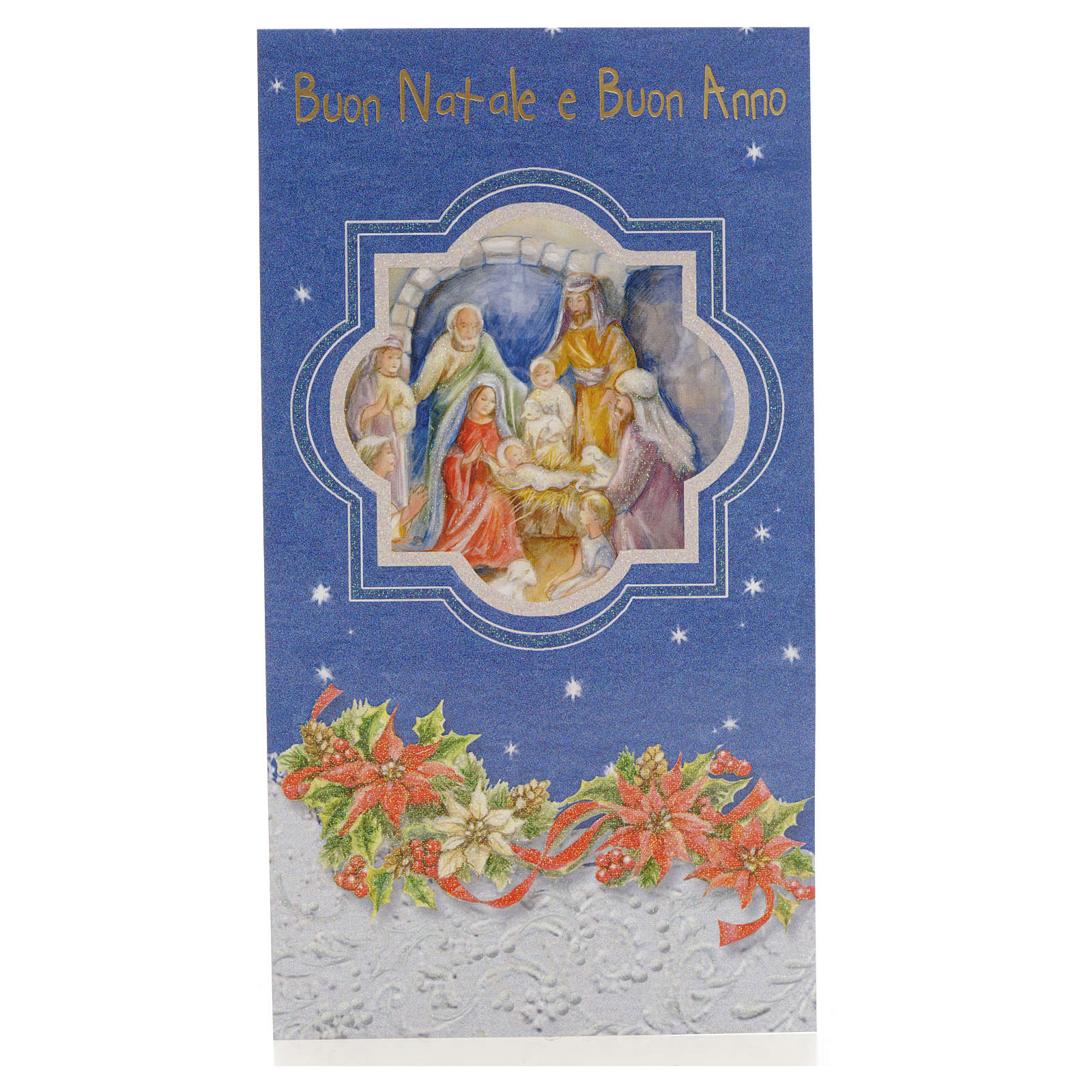 Tarjeta de Navidad azul Nacimiento de Jesús 4