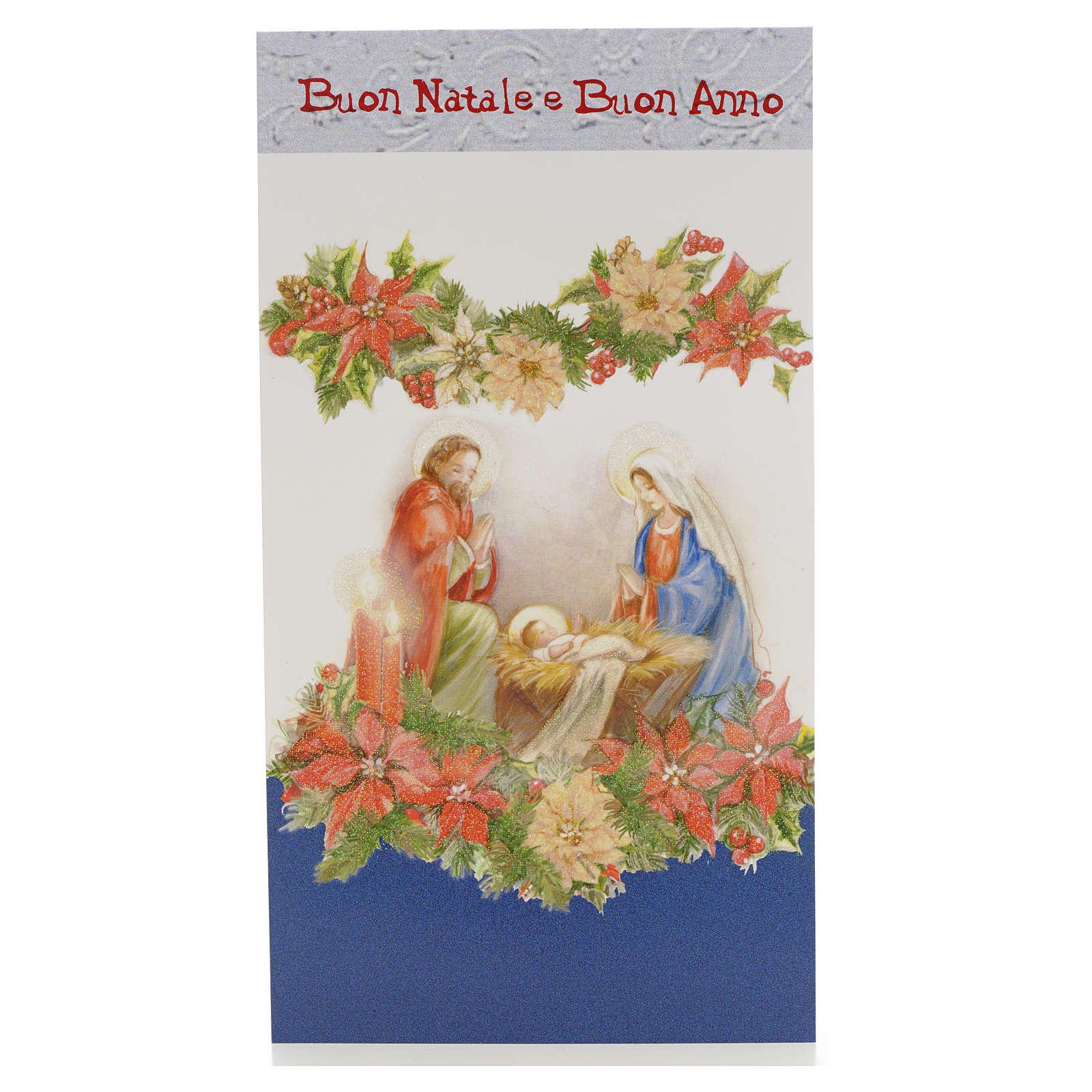 Tarjeta Navidad Sagrada Familia con flores 4