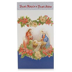 Tarjeta Navidad Sagrada Familia con flores s1