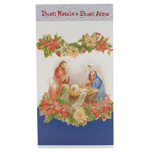 Tarjeta Navidad Sagrada Familia con flores 1