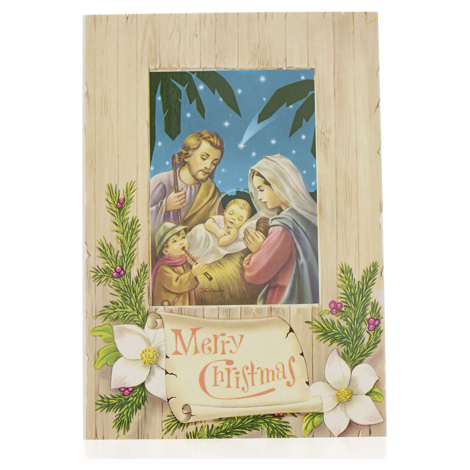 Cartão de Natal Sagrada Família Merry Christmas 4