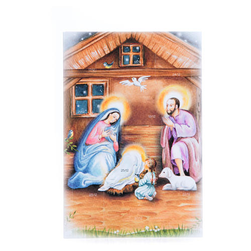 Card with Merry Christmas wishes and 9 days advent calendar 1