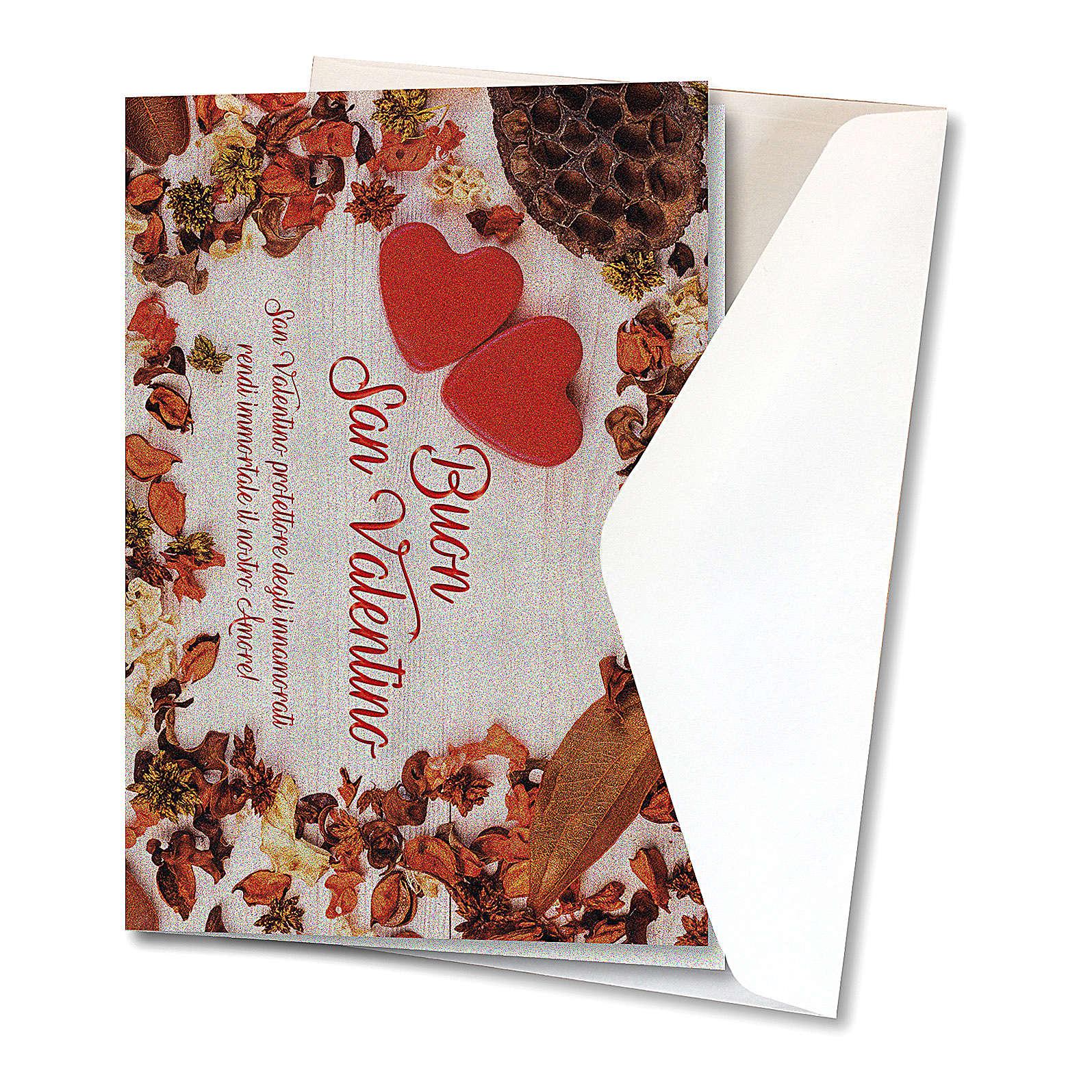 Biglietto Auguri carta perlata San Valentino Cuori su Tavola 4