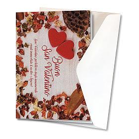 Biglietto Auguri carta perlata San Valentino Cuori su Tavola s2