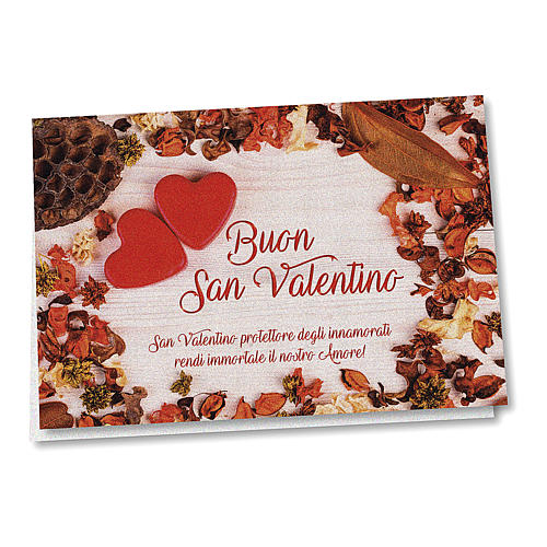 Biglietto Auguri carta perlata San Valentino Cuori su Tavola 1