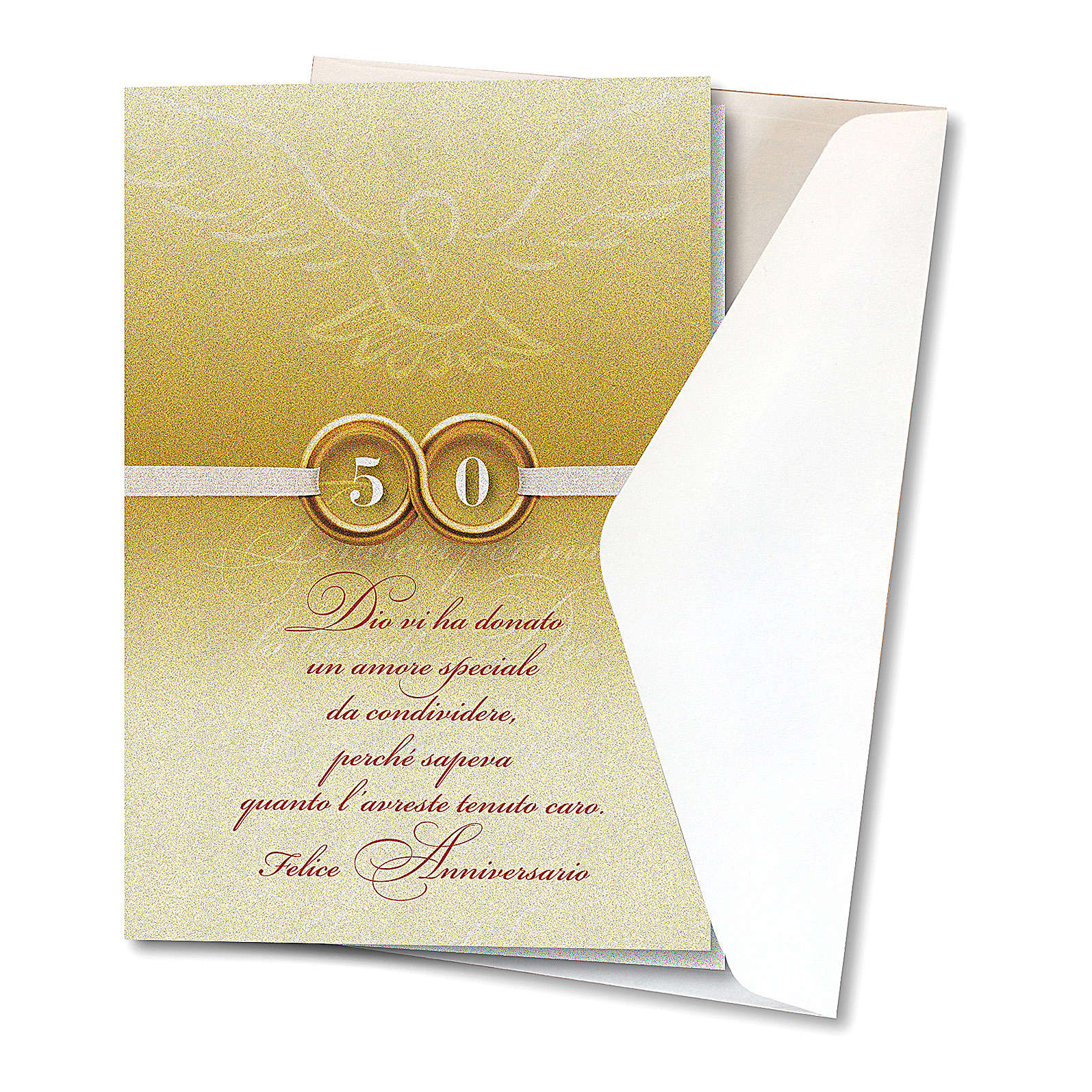 Greeting card in pearl paper 50th Wedding Anniversary Rings 4