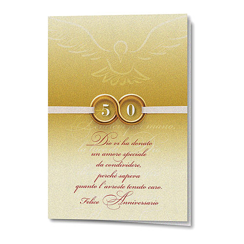 Greeting card in pearl paper 50th Wedding Anniversary Rings 1