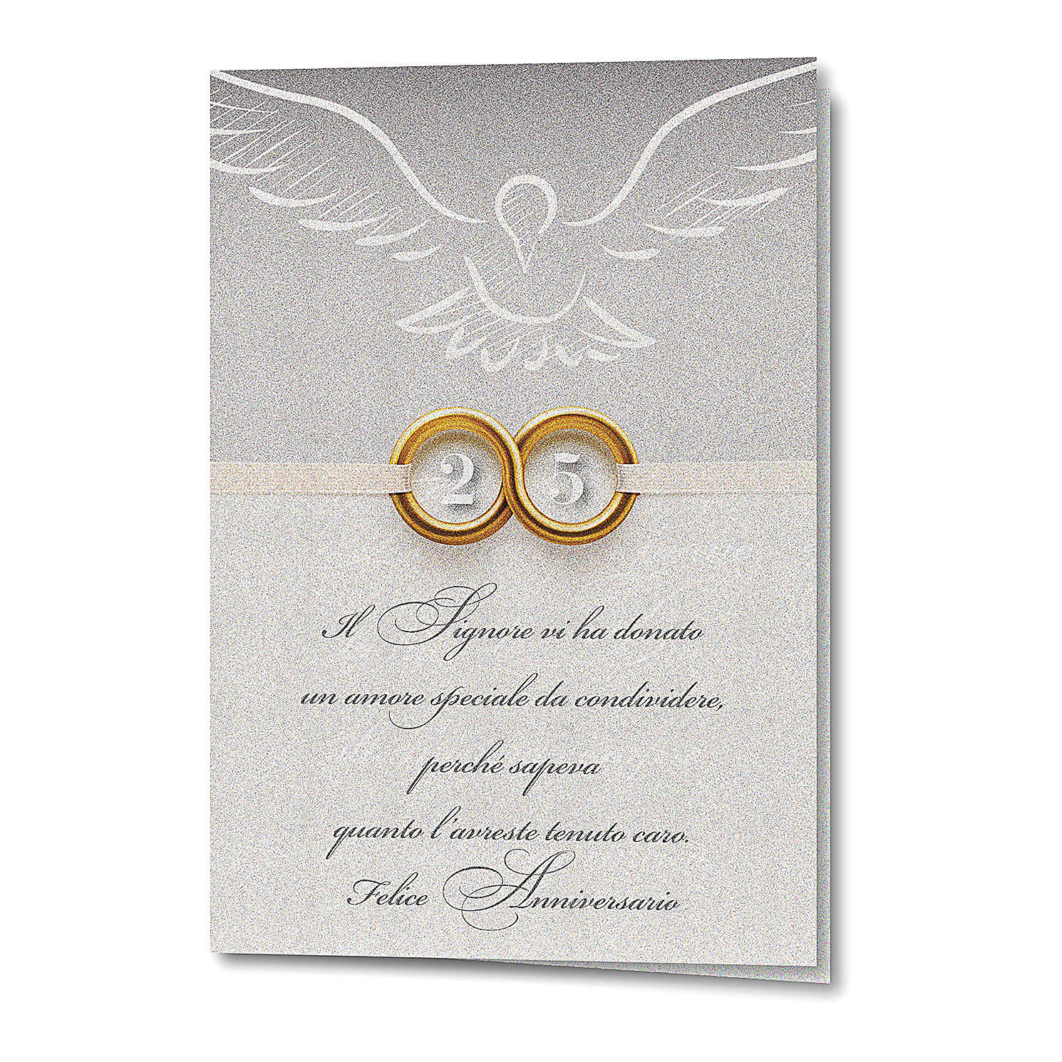 Greeting card in pearl paper 25th Wedding Anniversary Rings 4