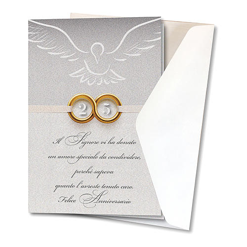 Greeting card in pearl paper 25th Wedding Anniversary Rings 2