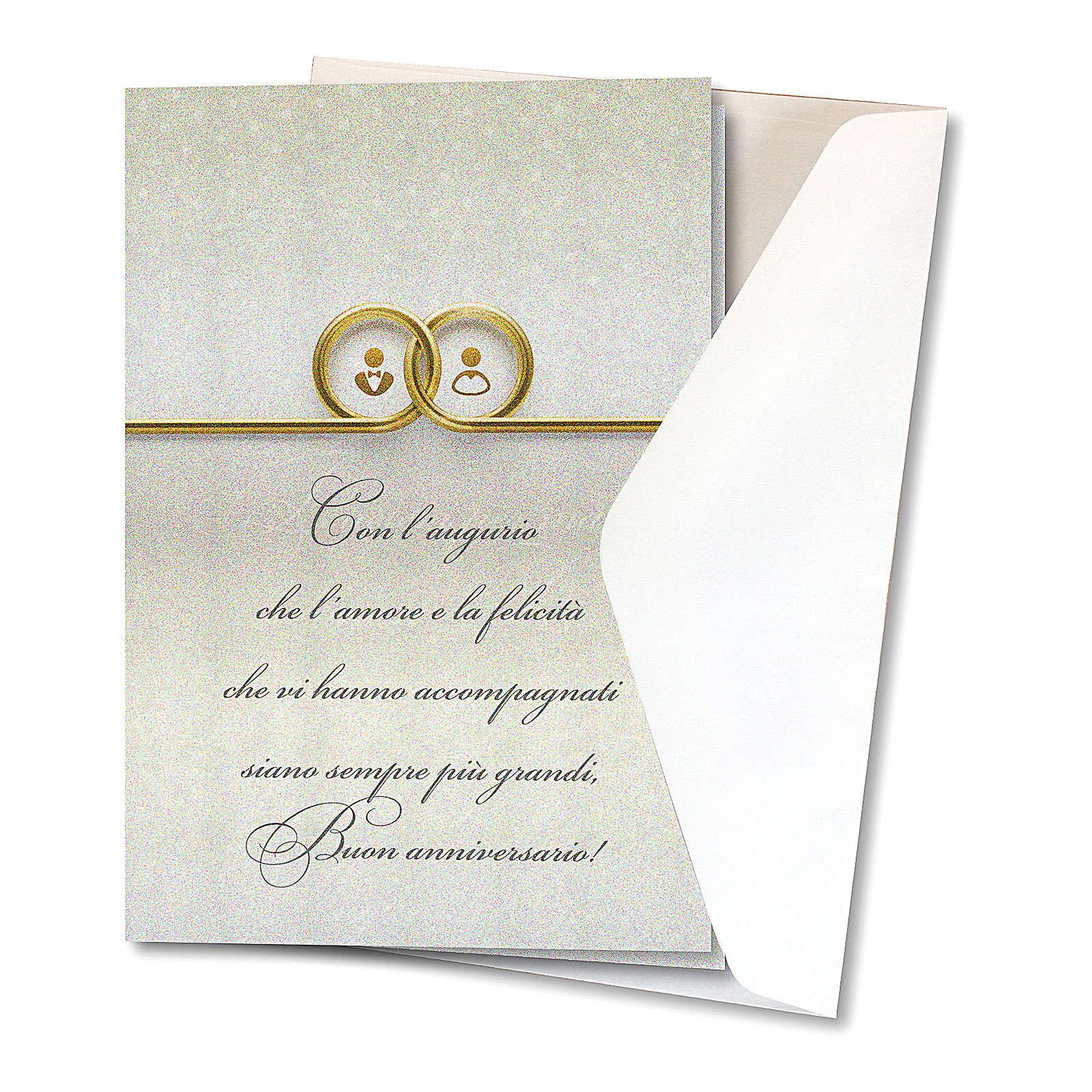 Anniversario Di Matrimonio Preghiera.Biglietto Augurale Carta Perlata Per L Anniversario Di Nozze Fedi