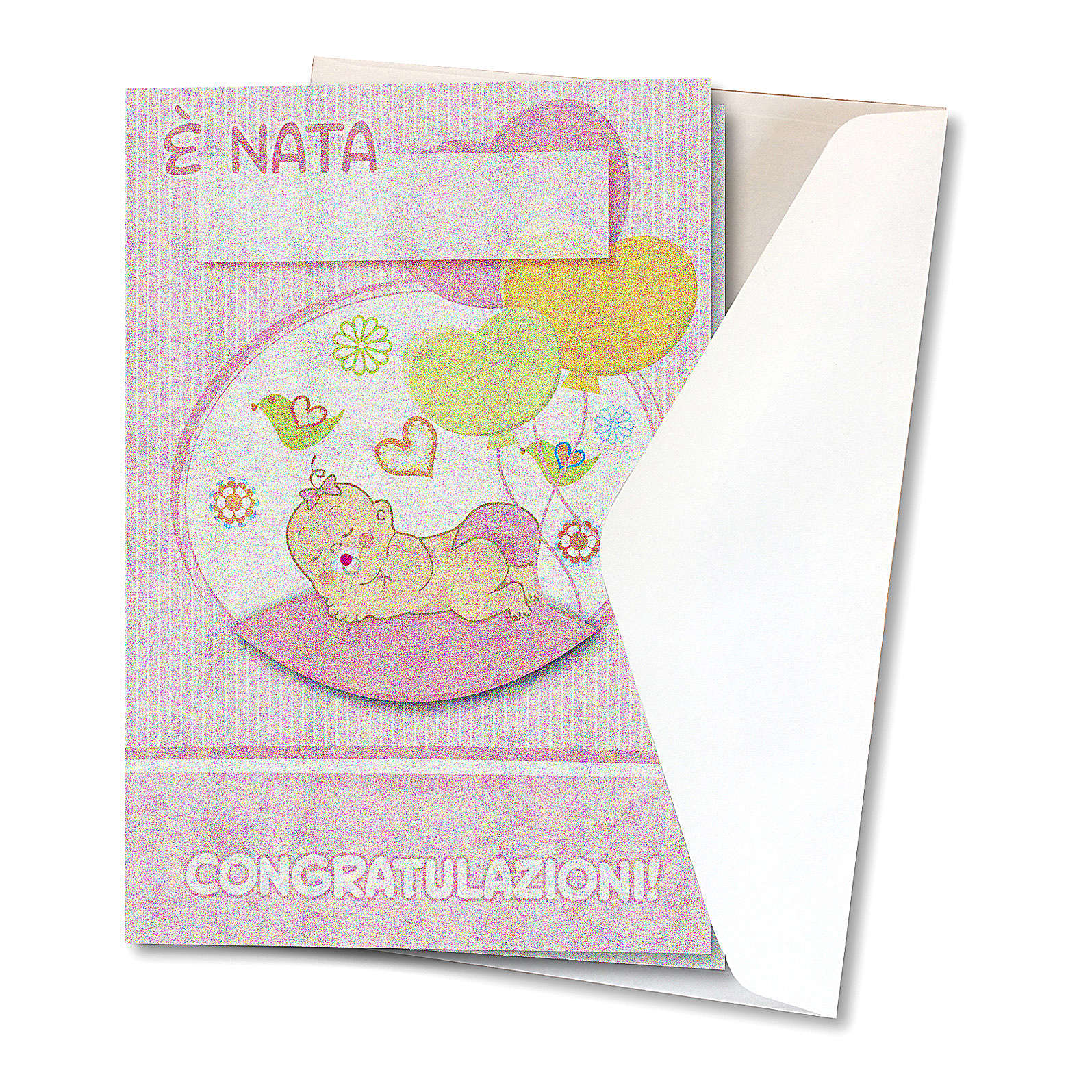 Greeting card in pearl paper Birth of a Girl Balloons 4