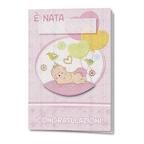 Greeting card in pearl paper Birth of a Girl Balloons 1