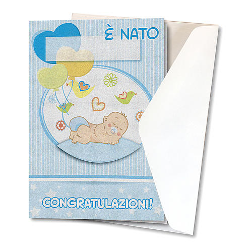 Greeting card in pearl paper Birth of a Boy Balloons 2