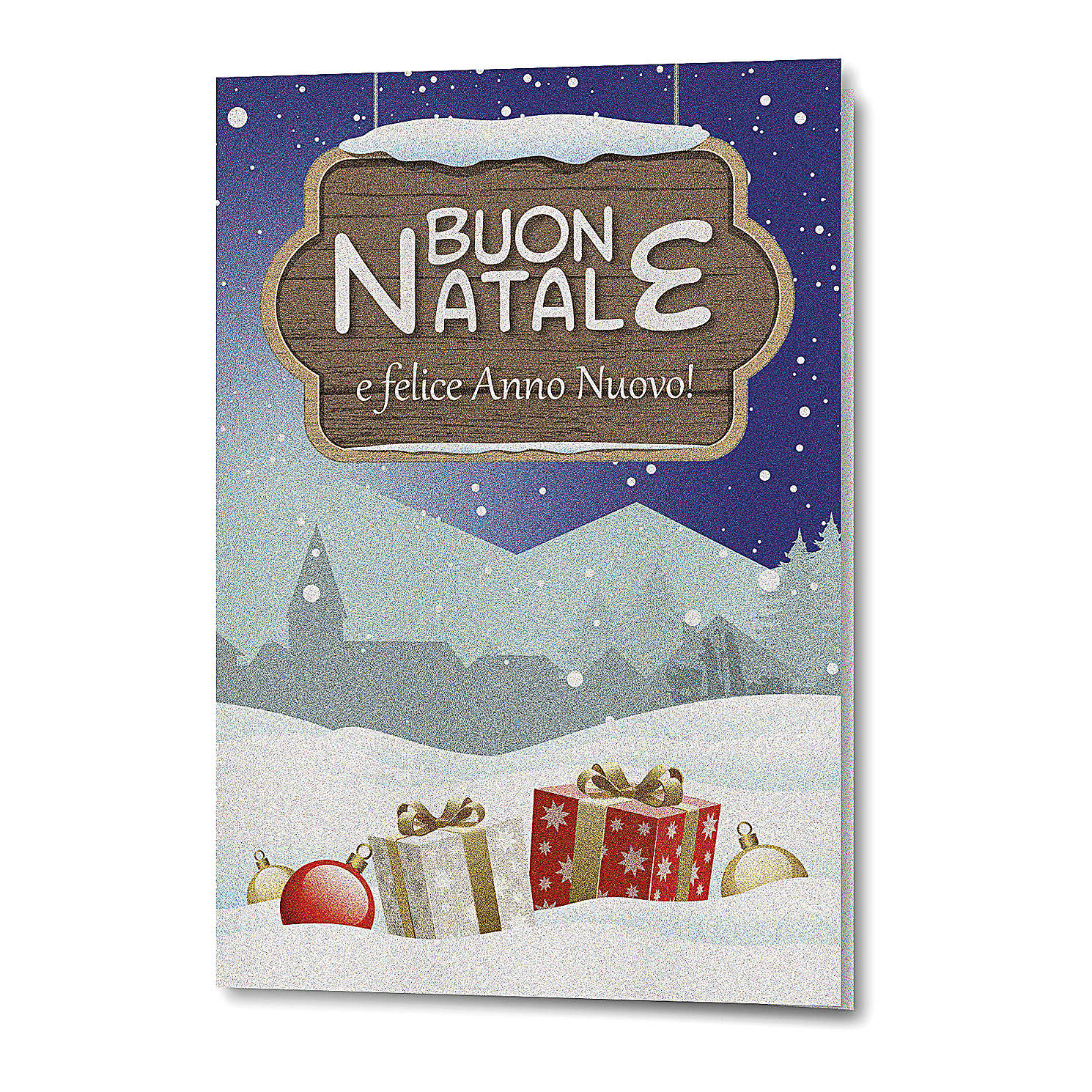 Greeting card in pearl paper Christmas Landscape 4