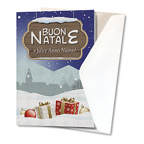Greeting card in pearl paper Christmas Landscape s2