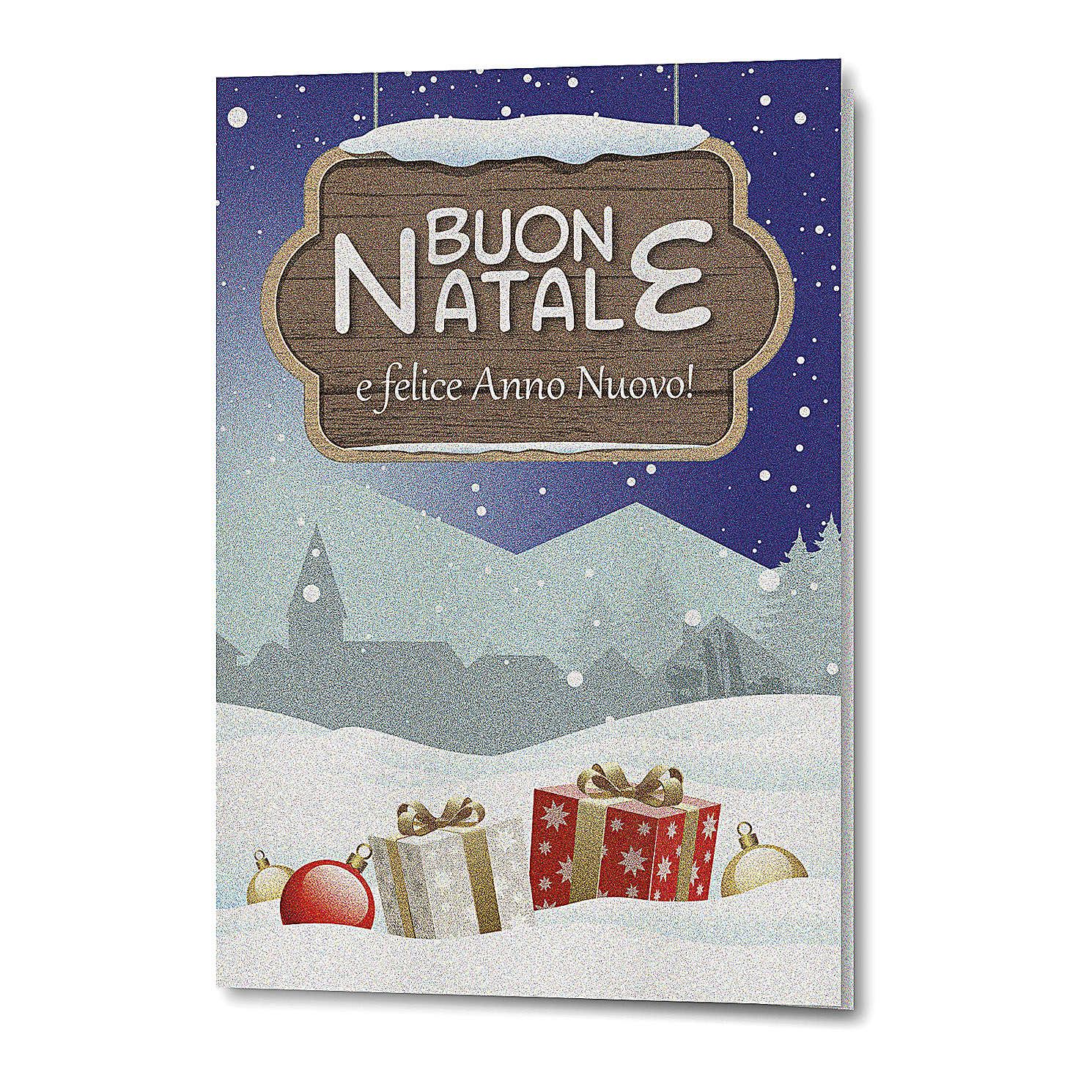 Biglietto Auguri Natalizio carta perlata Paesaggio Natalizio 4