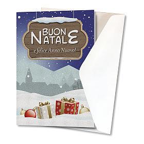 Biglietto Auguri Natalizio carta perlata Paesaggio Natalizio s2
