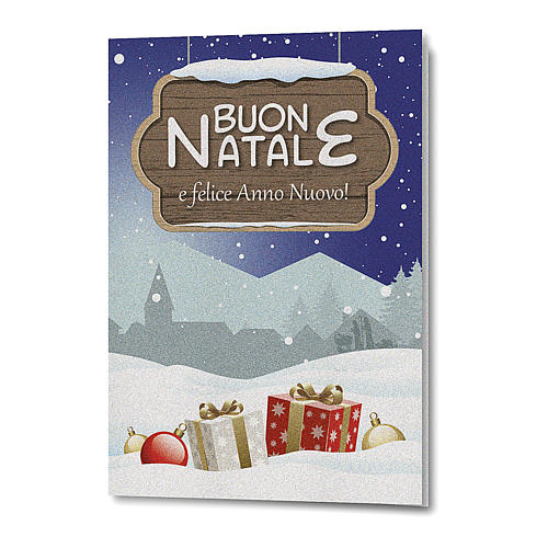 Biglietto Auguri Natalizio carta perlata Paesaggio Natalizio 1